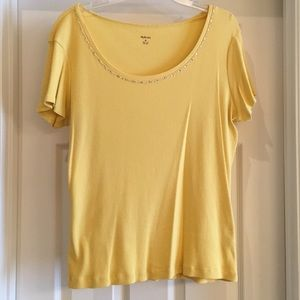 Style & Co Yellow Top with Shine, XL